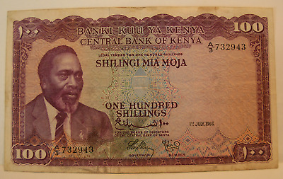 Kenia 1966 100 Shillings Note P5a