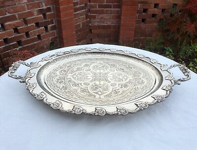 "Huge 28"" 19th C. Georgian/Victorian Silver Plated Butler Serving Tray 3.6 Kg+"