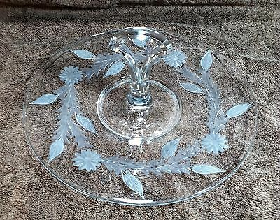 """Vintage Etched Clear Glass Floral Pattern Center Handle Tidbit Serving Tray 11"""""""