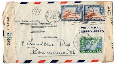 Curaçao: 1944 Airmail cover censored/resealed to UK from Willemstad rerouted