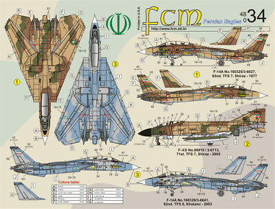 fcm48034/ FCM Decals - F-14A / F-4 - Persian Eagles - 1/48 - TOPP DECALS