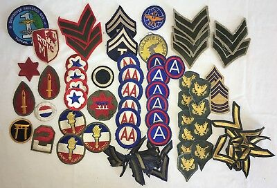 Lot of 50+ US Army, USMC, WWII, Korea + Vietnam War Rank and Shoulder Patches