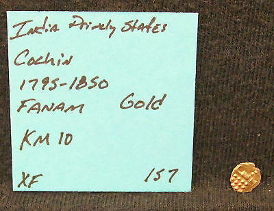 1795-1850 GOLD COIN India Cochin Gold Fanam KM 10 XF EF Vintage Small Coin LOOK