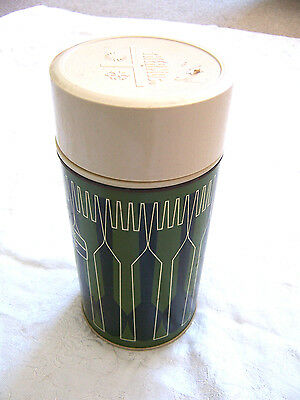 Vintage GREEN King Seeley Thermos Co USA 1971 Pint Size Green Tan Black Metal