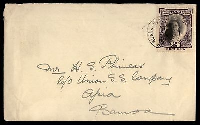 Tonga Queen Salota 2d Single Franked Cover to Apia Samoa Union SS company