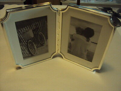 "New Kate Spade New York Sullivan Street"" Hinged Double Silverplated Frame, 4""..."