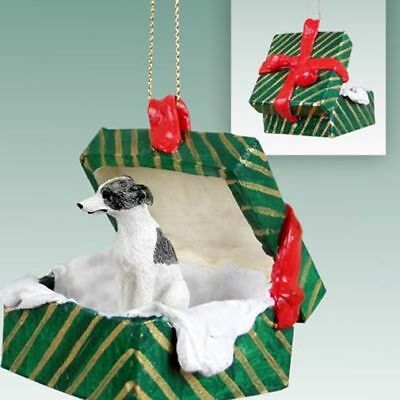 Whippet Gray White Dog Green Gift Box Holiday Christmas ORNAMENT