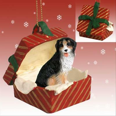 Bernese Mountain Dog Dog RED Gift Box Holiday Christmas ORNAMENT
