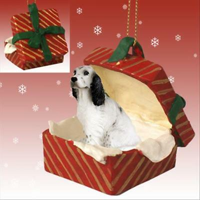 English Setter Blue Belton Dog RED Gift Box Holiday Christmas ORNAMENT