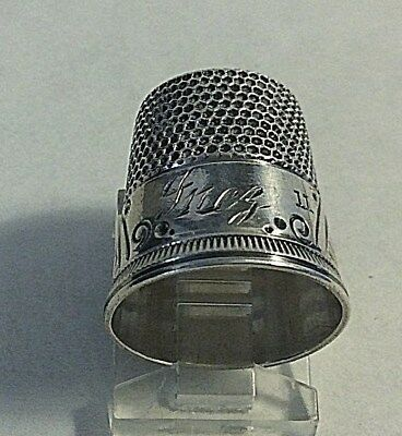 Antique Ketcham Mcdougal Sterling Silver  * INEZ * Fans  Thimble Sewing 11
