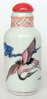 Stunning Chinese Porcelain snuff bottle painted flying birds cranes & sign RARE