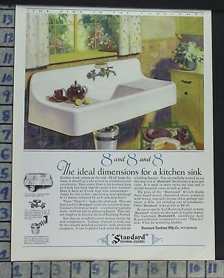 1928 Standard Plumbing Kitchen Sink Decor Architecture Build Vintage Ad Ce09