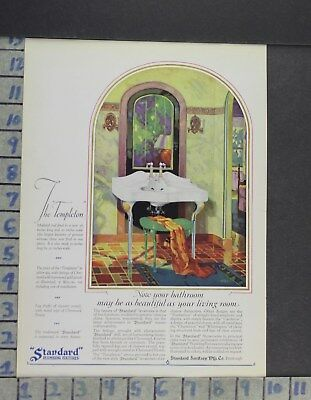 1928 Home Decor Bathroom Standard Plumbing Sink Mirror Stool Vintage Ad Cp47
