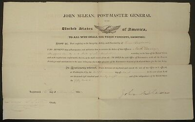 DOCUMENT SIGNED BY SUPREME COURT JUSTICE JOHN McLEAN 1828 CONWAY NEW HAMPSHIRE