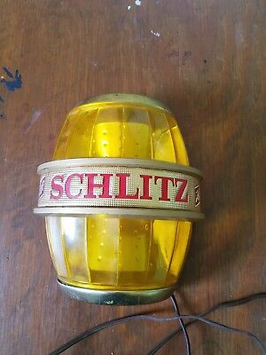 Vintage 1966 Schlitz Beer Keg Sign Working Wall Sconce