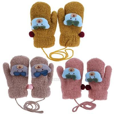 Unisex Soft Winter Baby Cute Bear Gloves Cotton Kids Full Finger Knitted Mittens
