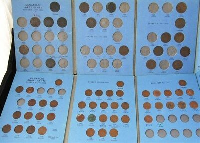 1859 - 1963 Canadian Large - Small Cent 1c Partial Albums, Canada 62 Coins