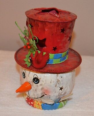 Home Interior / Homco 2 Piece Metal- Frosty Snowman Candle Holder