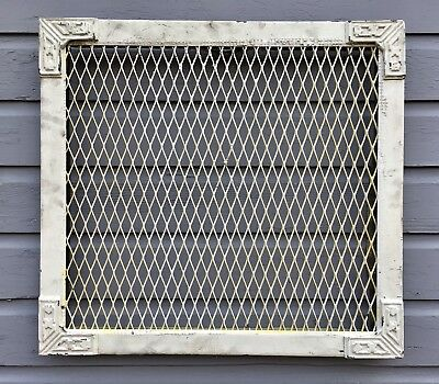 ANTIQUE CAST IRON METAL HEAT REGISTER GRATE ART DECO ARTS CRAFTS DESIGN 24x22