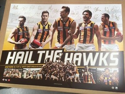 Hawthorn Hawks 2015 Afl Official Premiers Signed Print Hodge Rioli Roughead
