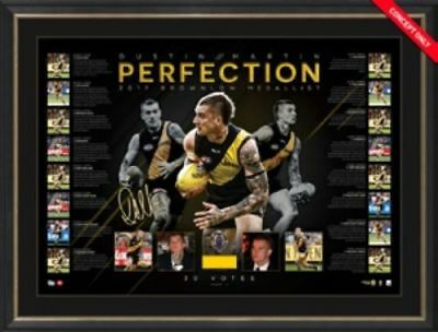 Dustin Martin 2017 Afl Brownlow Medallist Signed Framed Richmond Tigers Print