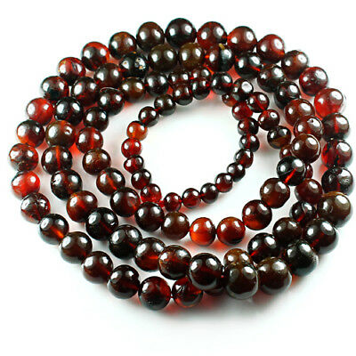 40.1g 100% Natural Mexican Blood Red Amber Bead Bracelet Necklace CSFb503