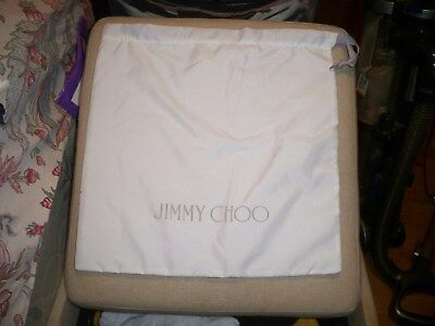 NEW JIMMY CHOO Drawstring Dust Bag 14x14 White with gray Logo Made in Italy
