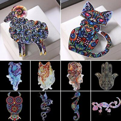 Colorful Owl Dog Cat Animal Printing Brooch Pin New Year Gift Women Lady Jewelry
