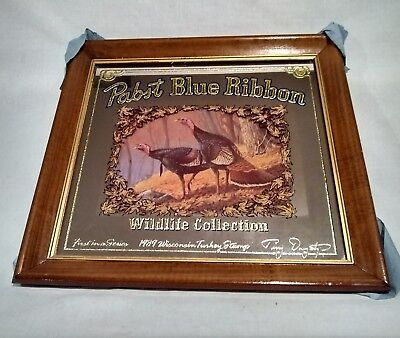 Pabst Blue Ribbon Mirror Beer Sign Wild Life Collection - TURKEY (1989) Vintage