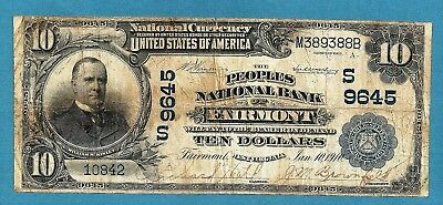 1902 $10 Charter 9645 Peoples National Bank of Fairmont West Virginia Solid Fine