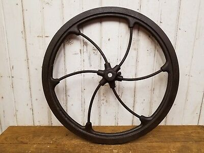 Large Antique 1800's Cast Iron Hand Flywheel ~ Old Vintage Industrial Hit Miss