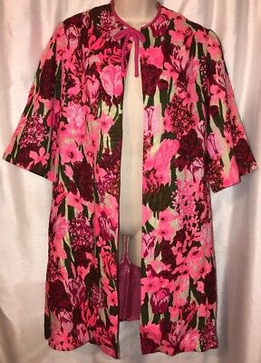 Edith Flagg Vintage Women's Floral Show Stopper Jacket Hot Pink Green