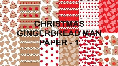 CHRISTMAS GINGERBREAD MAN SCRAPBOOK PAPER - 12 x A4 pages
