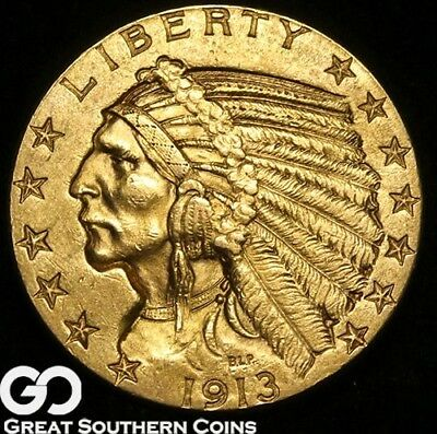 1913 Half Eagle, $5 Gold Indian, BU++ ** Free Shipping!