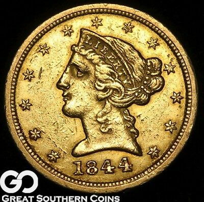 1844-O Gold Half Eagle, $5 Gold Liberty, Tough Better Date New Orleans Issue!
