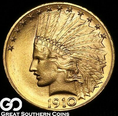 1910-D Gold Eagle, $10 Gold Indian, Very PQ Lustrous Solid Gem BU++ ** Free S/H!
