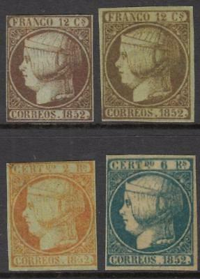 Spain 1852 Photo-Replica FAKES 4 diff uncancelled stamps Queens