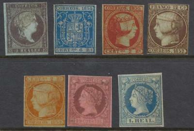 Spain 1852//1860 Photo-Replica FAKES 7 diff uncancelled stamps