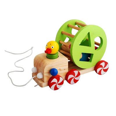 Colorful Wood Duck Push Pull Toy Wooden Walking Toys Baby Learning Toys