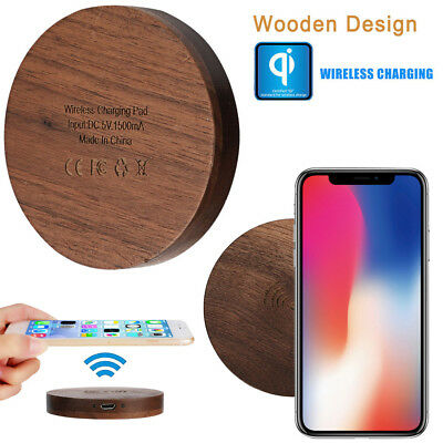 Wood QI Wireless Fast Charger Station Rapid Charging Pad For Iphone 8/8 Plus/X