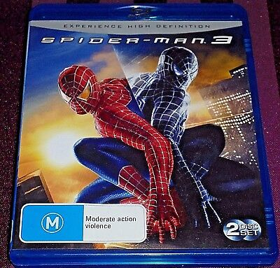 Spider - Man 3 -2 Disc Set- Blu-Ray Region A B C (Rated M) Like New Condition