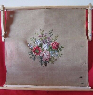 TAPESTRY/CROSS STITCH FRAME-70 cm x 23 cm + PART WORKED FLORAL CANVAS & WOOL-VGC
