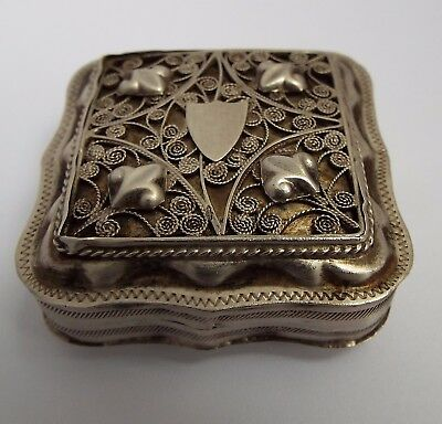 Lovely Antique 19Th Century Dutch 1890 Solid Silver & Filigree Work Snuff Box
