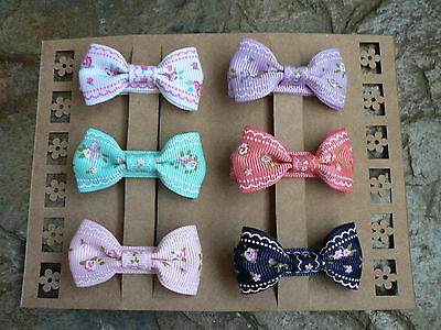 "Set Of Six 2"" Floral Lace Design Grosgrain Bow Hair Clips!"