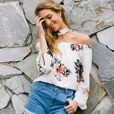 Womens Fashion Floral Printed Choker Off Shoulder Long Sleeve Top Ruffles Blouse