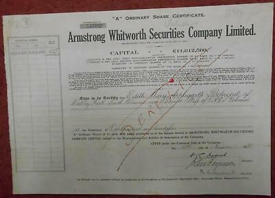 """31816 GB 1930 Armstrong Whitworth Securities 125 """"A"""" shares certificate"""