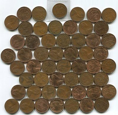 Two Cents Collection of 54 Coins - Includes Complete Set of 22 x Different Dates
