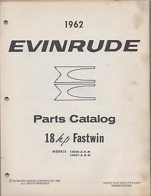 1962 Evinrude Outboard Motor 18Hp Fastwin  P/n 278379 Parts Manual (581)