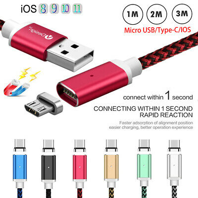 1/2/3M 3IN1 Braided Magnetic Plug Micro USB /IOS/Type C Charging Date Cable Wire