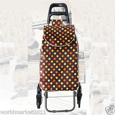 New Convenient Brown Dot Pattern Six-Tire Collapsible Shopping Luggage Trolleys